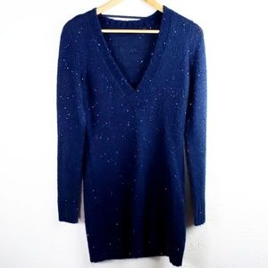 Esprit Pullover Sequin Sweater Dress Blue Casual L